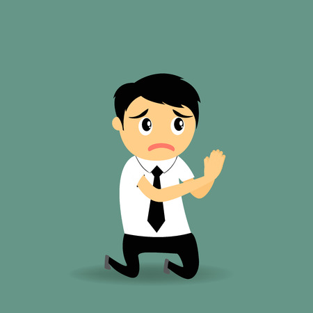 hoping: Cartoon businessman with mouth open praying looking up hoping for the best asking for forgiveness, Positive human emotion facial expression feelings, vector illustration