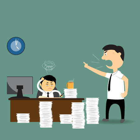 employer: angry boss with employer in hard Working, vector illustration. Illustration