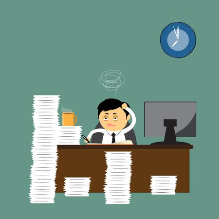 El trabajo duro, hombre de negocios de dibujos animados que representa en la oficina, ilustración vectorial.