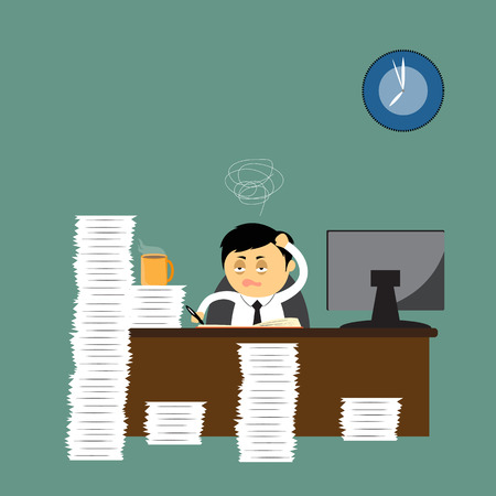 Hard work, cartoon businessman accounting at the office, vector illustration. Illustration