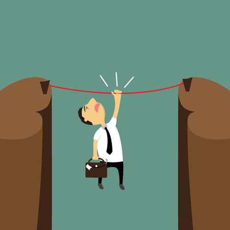 unsuccess: Cartoon businessman hanging on a rope over the cliffs, the risk but try to reach success, vector illustration.