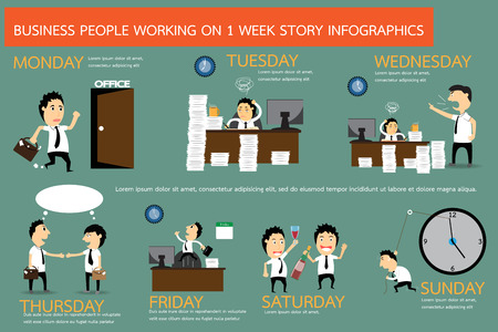 The story of businessman working on 1 week in infographic form, vector illustration. Vettoriali