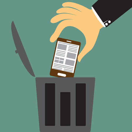 trash container: cartoon big hand throw the smartphone in the trash, Scrapping old device concept vector illustration.