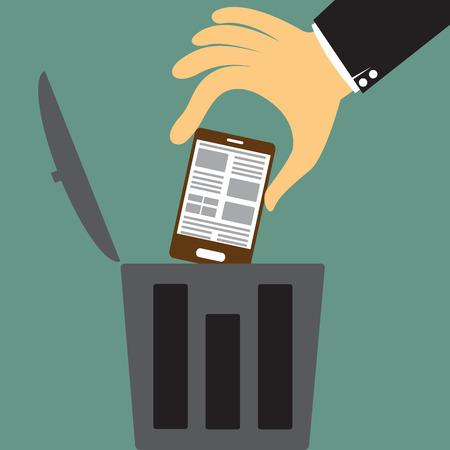 cesto basura: gran mano de dibujos animados lanzar el teléfono inteligente a la basura, Desguace viejo concepto dispositivo ilustración vectorial.