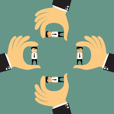 Human resources concept: Big hand choosing the perfect  candidate for the job and bought vector concept illustration. Vector