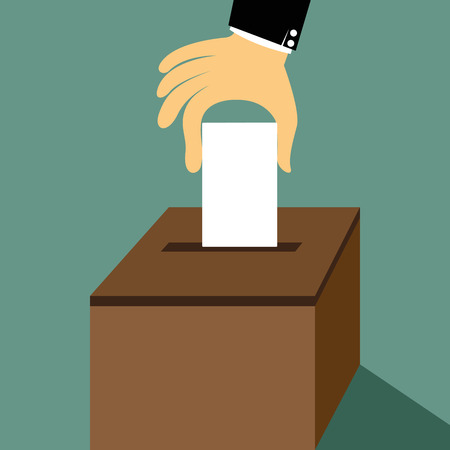 Cartoon hand inserting a paper ballot voting on a ballot box vector illustration. Иллюстрация