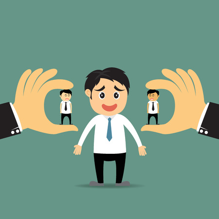 Human resources concept: Big hand choosing the perfect  candidate for the job and bought vector concept illustration.