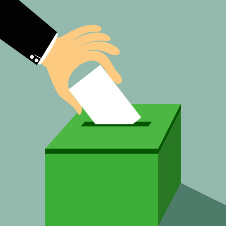 voter registration: Cartoon hand inserting a paper ballot voting on a ballot box vector illustration. Illustration
