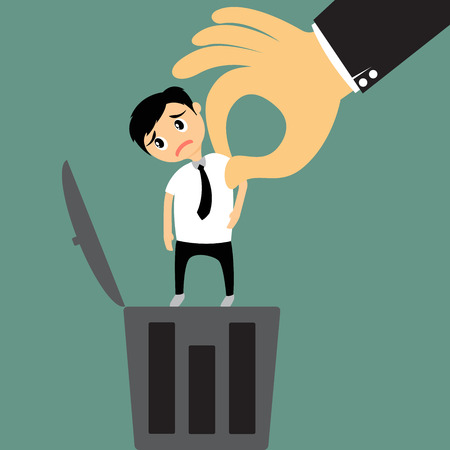 unemployed dismissed: The big hand (boss) removing employee illustration.