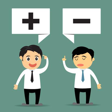 negative thinking: d'affaires de bande dessin�e avec la pens�e positive et pens�e n�gative
