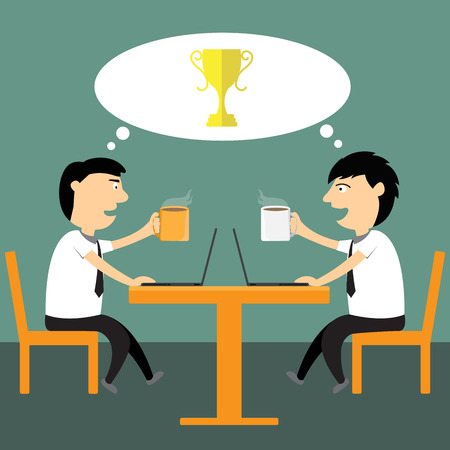asian business meeting: Two cartoon businessmen having meeting in the cafe, talking about business