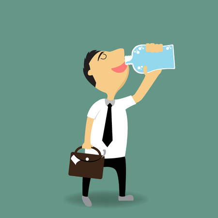 omini bianchi: cartone animato uomo d'affari bere acqua