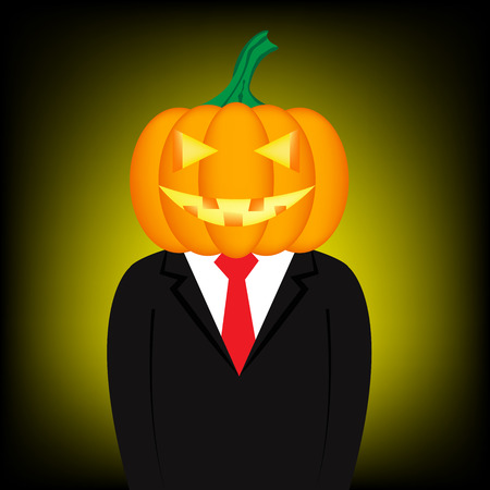 Cartoon businessman has pumpkin head for Halloween Vector