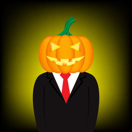 Cartoon businessman has pumpkin head for Halloween photo