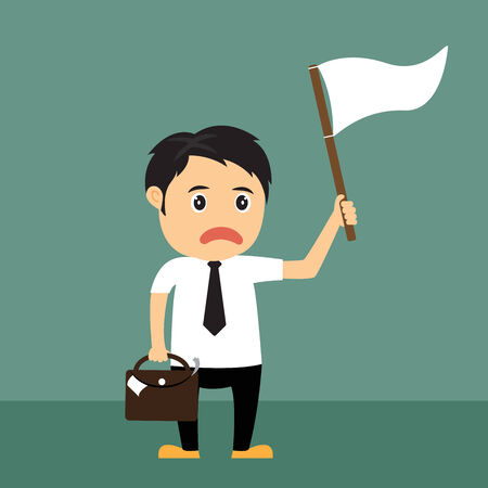 surrender: Cartoon businessman holds white flag of surrender, vecter illustration.