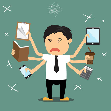 multitask: Cartoon businessman error, He several hand failing to multitask and trying to do multiple office tasks at once, vector illustration.