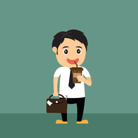 cold coffee: Cartoon businessman holding cold coffee ready to work, during take a break, business concept in relaxation, vector illustration.
