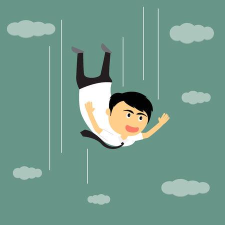 Cartoon businessman freedom falling from sky, vector illustration. Vector