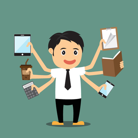 multi: Cartoon businessman with multi tasking and multi skill, vector illustration.