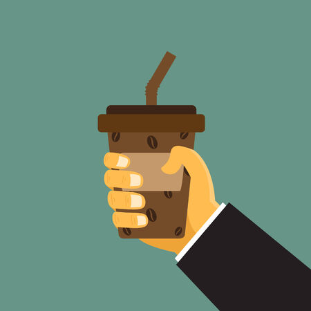 cartoon hand hold paper cup or take-home coffee cup and tube, vector illustration. Vector