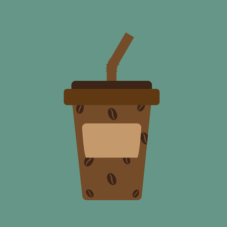 plastic straw: paper cup or take home coffee cup and tube, vector illustration.