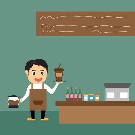 barista: Cartoon barista presenteert koffie in zijn winkel, vector illustratie. Stock Illustratie