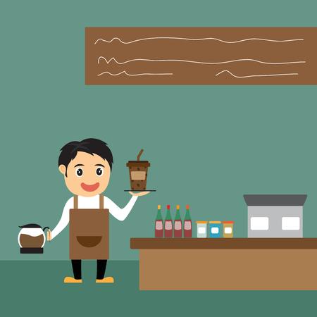 Cartoon barista presents coffee in his shop, vector illustration. Vector