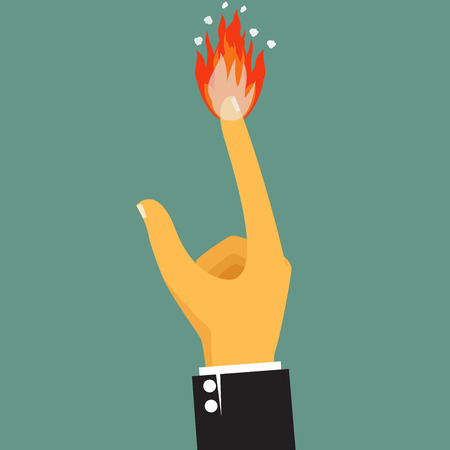 lowbrow: cartoon, flame shooting from fingertip, vector illustration. Illustration