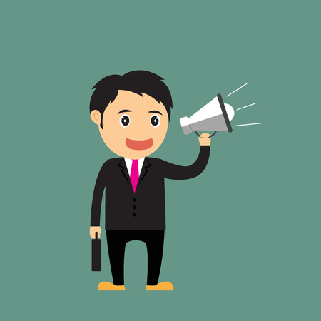vector Illustration of cartoon businessman (boss, manager) holding Megaphone for advertising and presentation. Vector