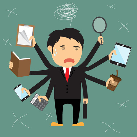 once: Cartoon businessman error, He several hand failing to multitask and trying to do multiple office tasks at once, vector illustration.