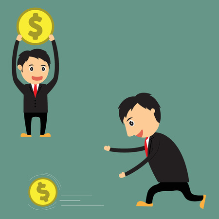 vector Illustration of cartoon businessman (boss, manager) run catching money and that have money for advertising and presentation. Vector