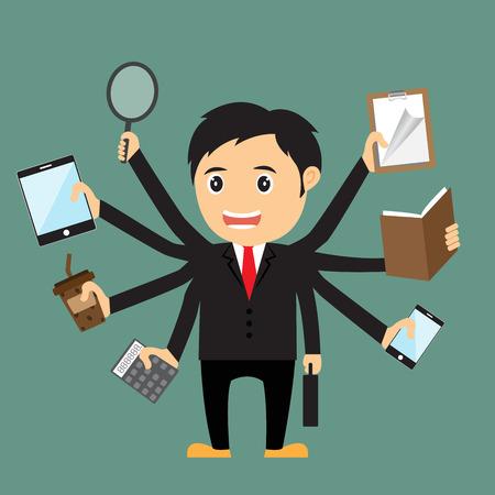 tasking: Cartoon businessman with multi tasking and multi skill, vector illustration.