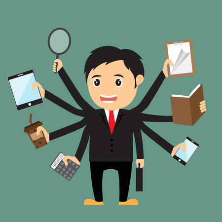 Cartoon businessman with multi tasking and multi skill, vector illustration.