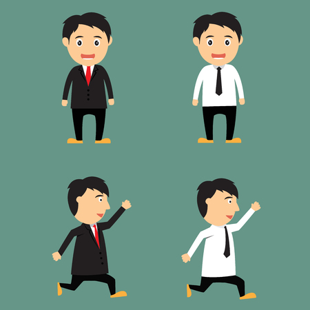 Cartoon businessman office worker in various poses for use in presentations and advertising vector illustration. illustration