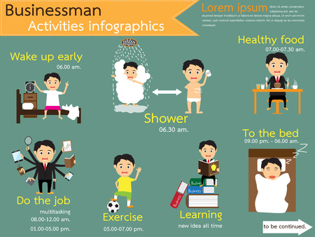 work life: Activities workday. business life. daily routine. businessman manage schedule workday from dawn to dusk infographics, vector illustration. Illustration