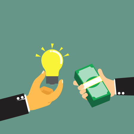 pay money: Businessman pay money for buy idea, trading vector illustration. Illustration
