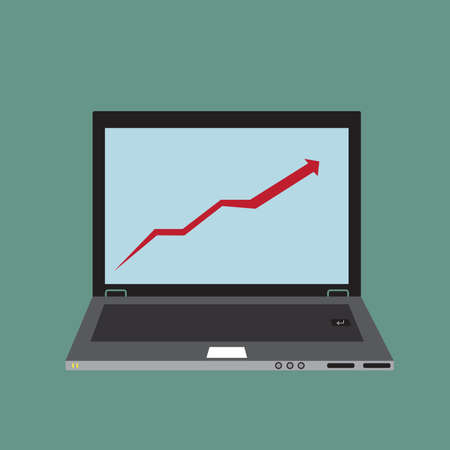 laptop screen: growing graph being demonstrated on laptop screen device vector illustration.