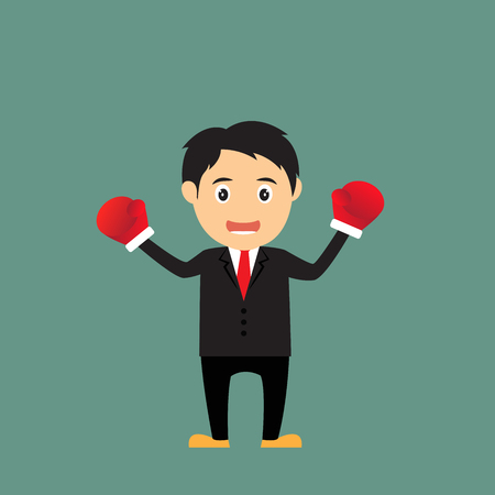 competitive business: Tough competitive business concept businessman wearing boxing gloves, cartoon concept vector illustration.