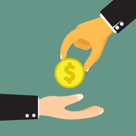 lend a hand: Hands Giving & Receiving Money vector illustration.