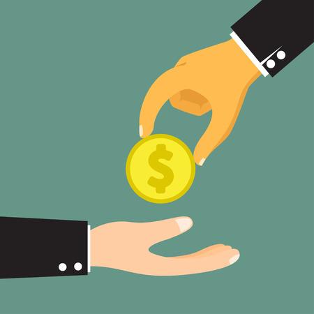 lend a hand: Hands Giving & Receiving Money vector illustration.