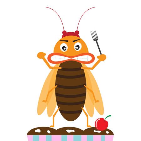 parasitic infestation: cockroach monster prepare eating the dinner. cartoon vector illustration
