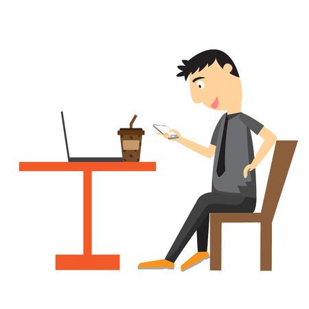 break in: Businessman relaxing in break time. vector illustration Illustration