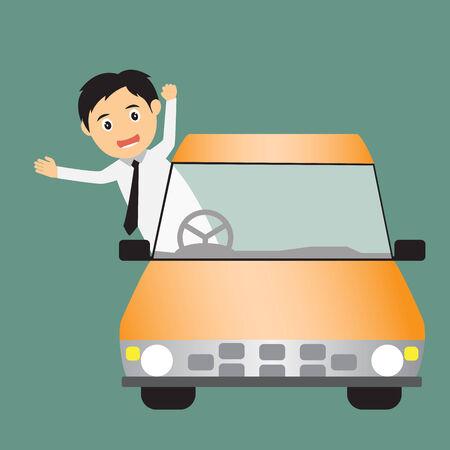 driving a car: hombre de negocios que conduce un coche ilustraci�n vectorial. Vectores