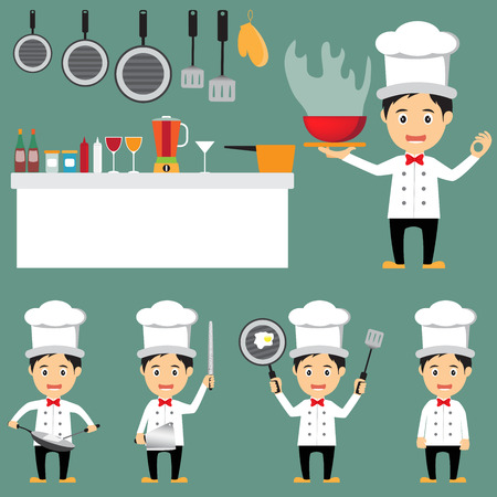 funny of cartoon chef character with kitchenware icons, vector illustration. Vector