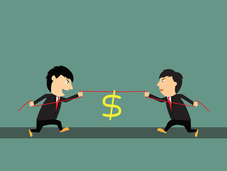 Two businessmen playing tug of war. business competitive concept, vector illustration Vector