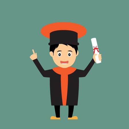 succeeding: man in graduation gown, vector illustration.