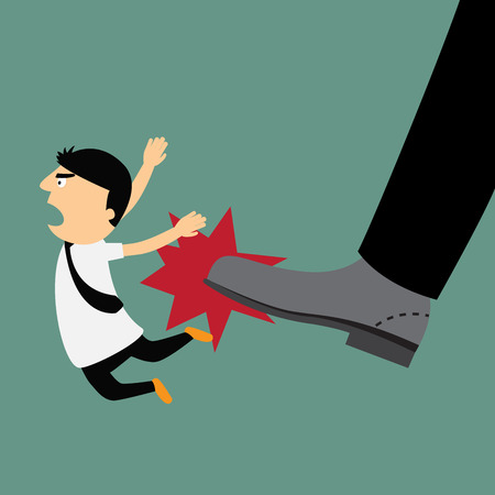 kicked out: Cartoon businessman being kicked out, Layoff concept, removing employee, vector illustration.