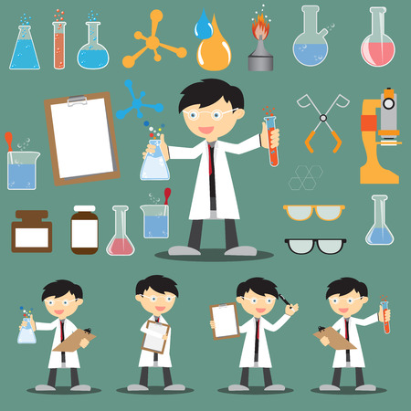Profession scientist with icon elements of laboratory equipment test, cartoon analysis style vector illustration Stock Illustratie