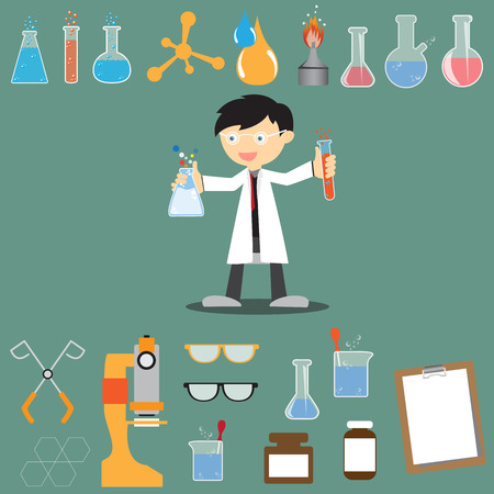 Profession scientist with icon elements of laboratory equipment test, cartoon analysis style vector illustration Illustration