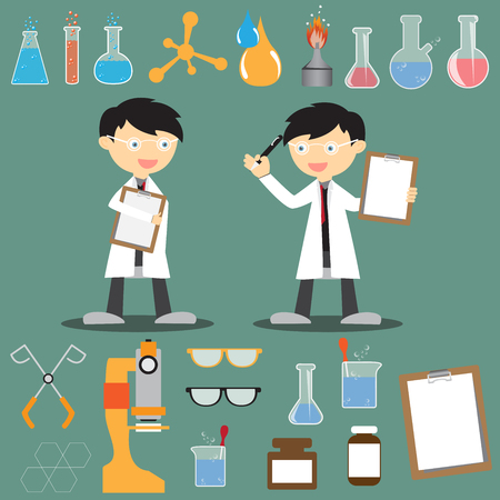 Profession scientist with icon elements of laboratory equipment test, cartoon analysis style vector illustration Vector